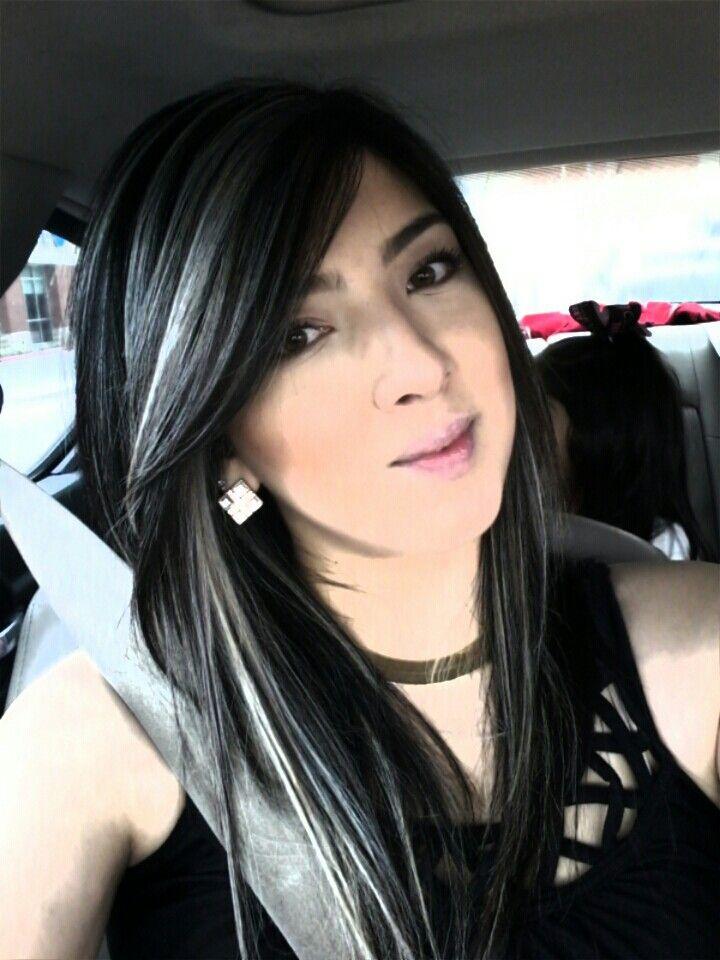 Platinum highlights on dark hair☆