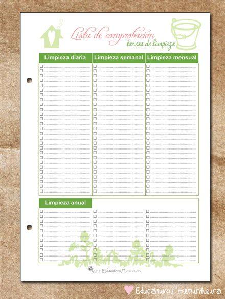 Imprimibles para organización del hogar