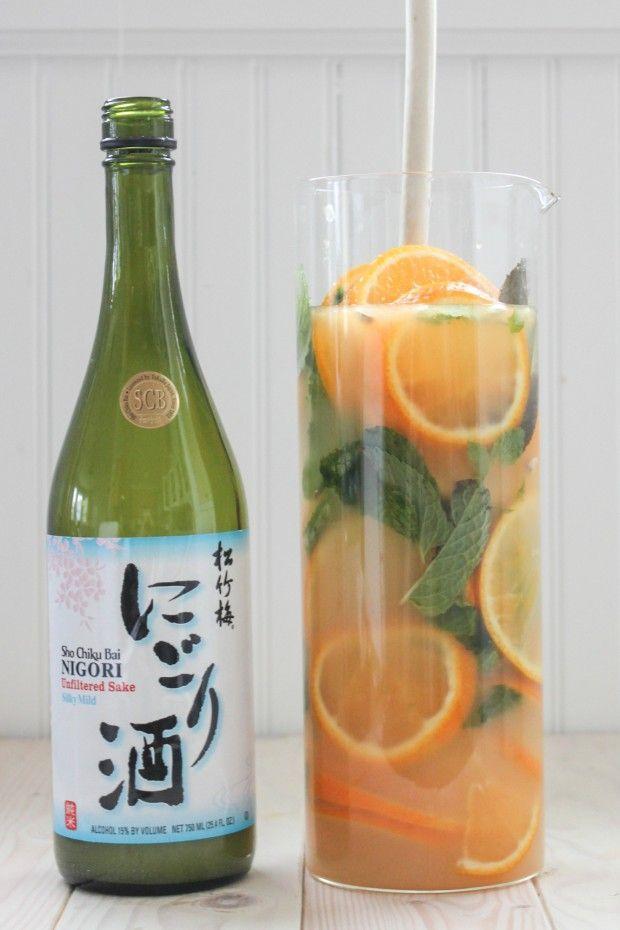 Tangerine Ginger Nigori Sake Sangria - for Tapas Party. To accompany Spanish and Asian Tapas