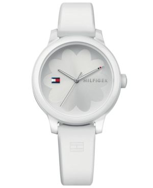Tommy Hilfiger Women's Ashley White Silicone Strap Watch 38mm - White