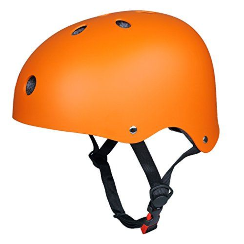 Upgraded SymbolLife Skate/ Skateboarding Helmet, Ultimate Adjustable ABS Shell Helmet for Cycling /Skateboard/Scooter/ Skate Inline Skating /Rollerblading Protective Gear Suitable for Kid/Youth/Adult, Small Orange