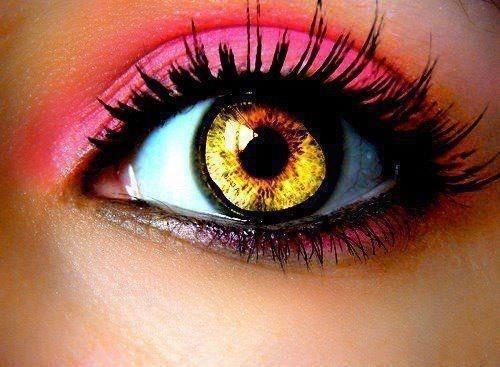 Love the yellow!! - CC: Make Up, Eye Makeup, Eye Colors, Pink Eyeshadows, Beautiful, Hot Pink, Pink Eye Shadows, Eyemakeup, Hair