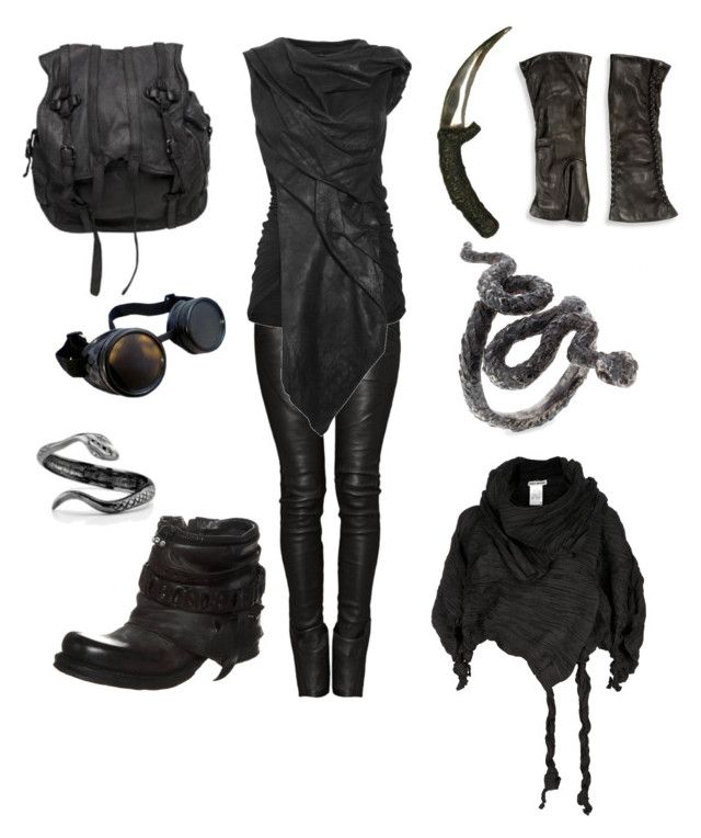 Post apocalyptic - the desert viper by sulfur on Polyvore featuring Rick Owens, Balmain, A.S. 98, AllSaints, Saks Fifth Avenue Collection and Issey Miyake