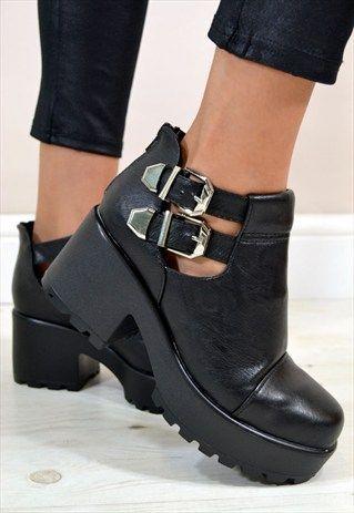 Flat Black Chunky Shoes