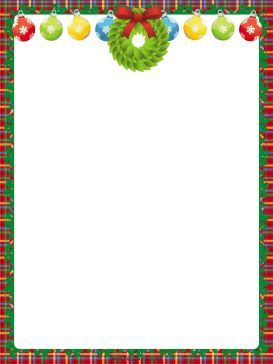 This free, printable Christmas border features a green wreath and colorful ornaments decorated with white snowflakes. Free to download and print.