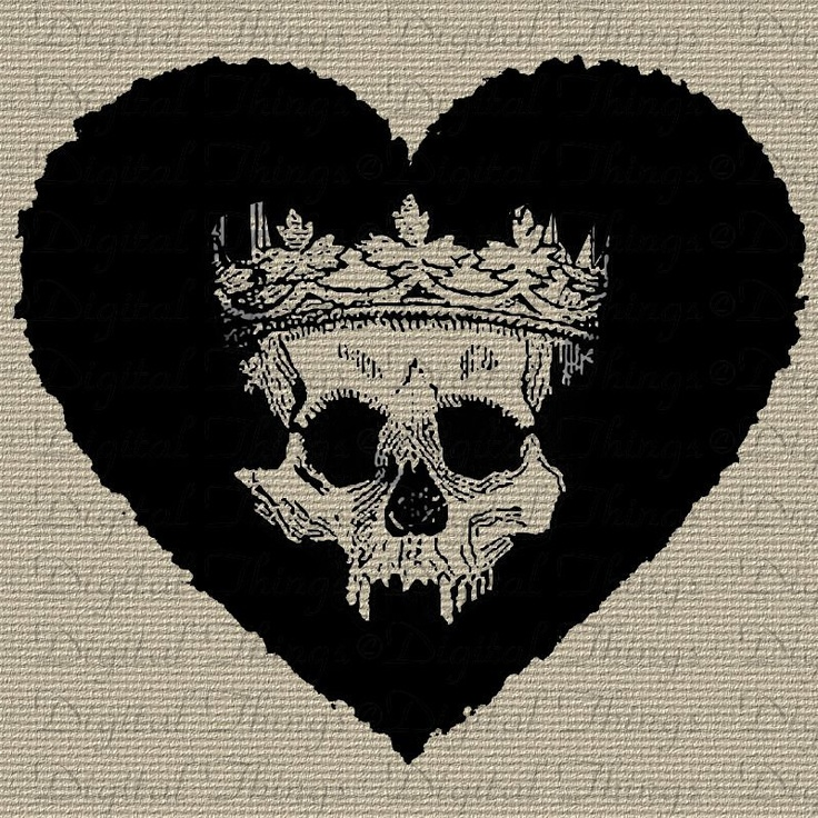 Gothic Skull Skeleton Crown Valentines Day Heart Holiday