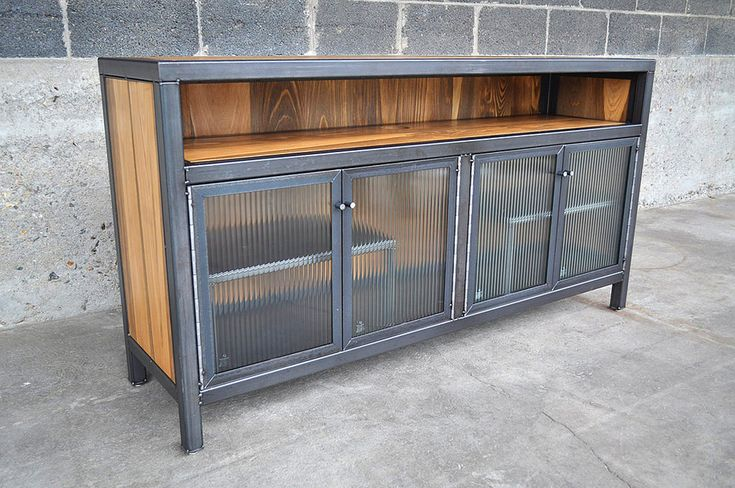 Lacquered Steel, stained cypress and reeded glass. 60x16x32H