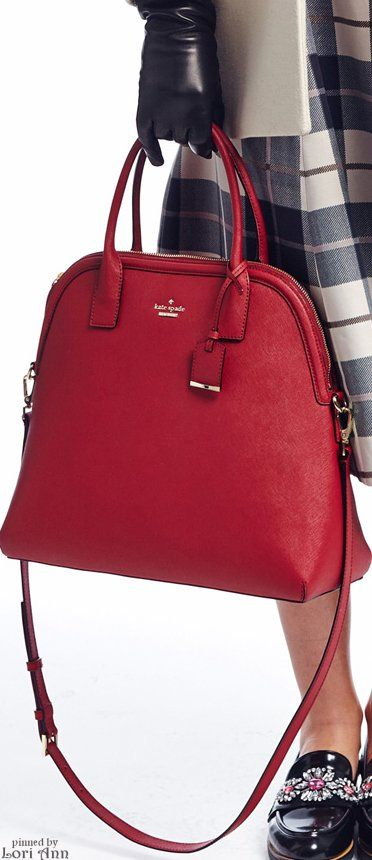 Kate Spade New York ~ Fall Red Leather Shopper Shoulder Bag 2015