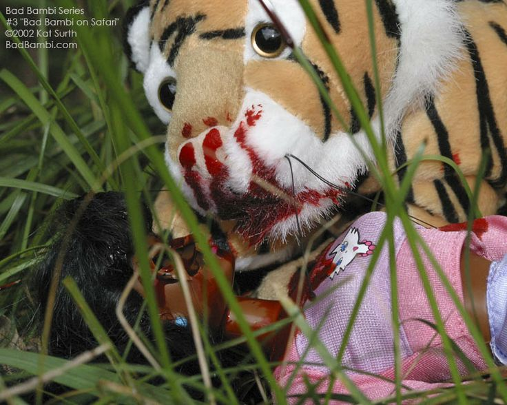 "Bad Bambi Series 3 ""Bad Bambi on Safari"" ©2002 Kat Surth.  A Barbie™ doll parody artwork."