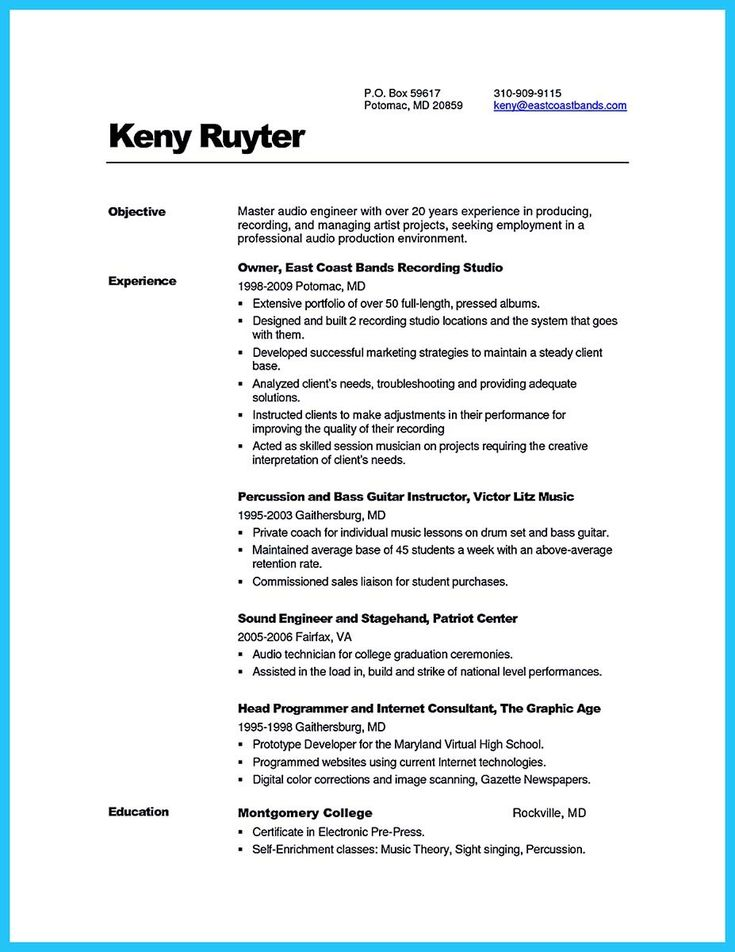 Cool Crafting A Representative Audio Engineer Resume Check More At Http Snefci Org Crafting Representative Audio Engineer Resume