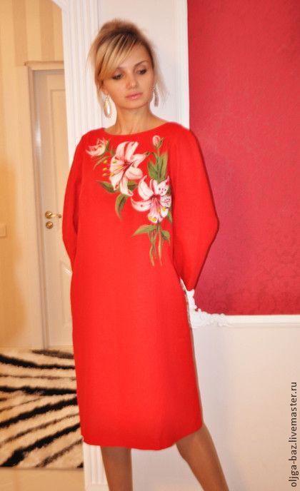 Платья ручной работы. Ярмарка Мастеров - ручная работа Нежная лилия. Платье из льна с рисунком из шерсти. Handmade.