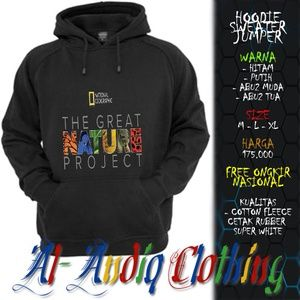 hoodie sweater jumper national geographic 2 print rubber 1 sisi abu-abu / putih / hitam