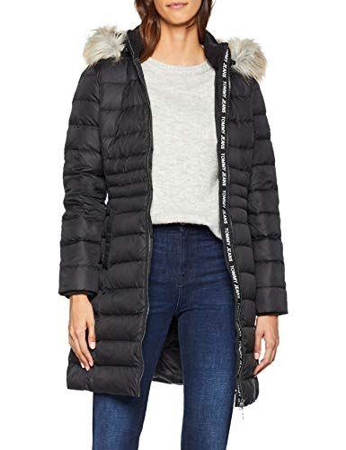 Hilfiger Denim Tjw Essential Hooded Down Coat Manteau Femme Noir (Tommy  Black 078) Small 5b2921b922b