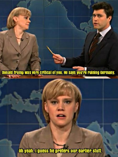 SNL Kate McKinnon's Angela Merkel on Donald Trump http://ibeebz.com