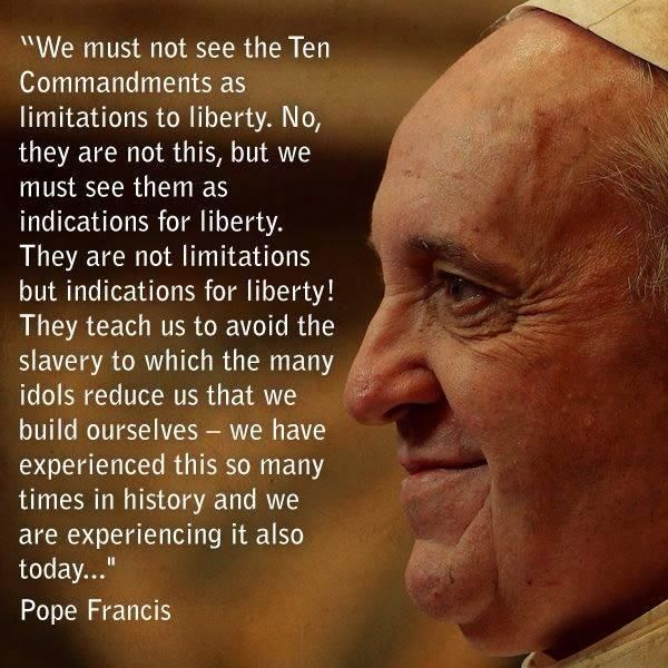 Source: The Catholic Study Fellowship Paus Franciscus over de 10 geboden en vrijheid