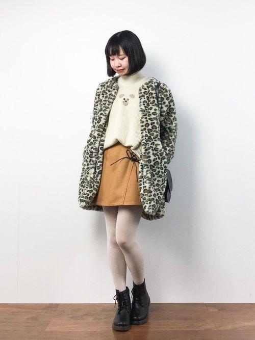 レオパード柄コートとくまニット(´-`).。o♡