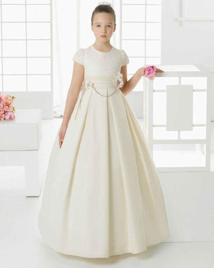 Elegant A-Line Jewel Neck Short Sleeve Lace Hand Made Flowers Floor-Length Silk First Communion Dress 2016