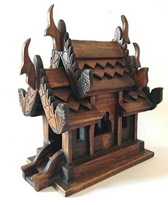 Artigianato tailandese spirito casa in legno di Teak per