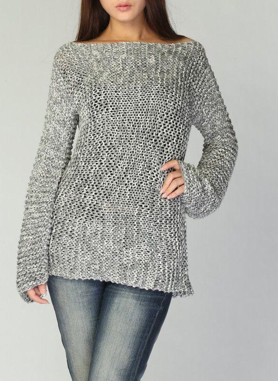 Hand knit woman sweater Eco cotton long sweater light grey