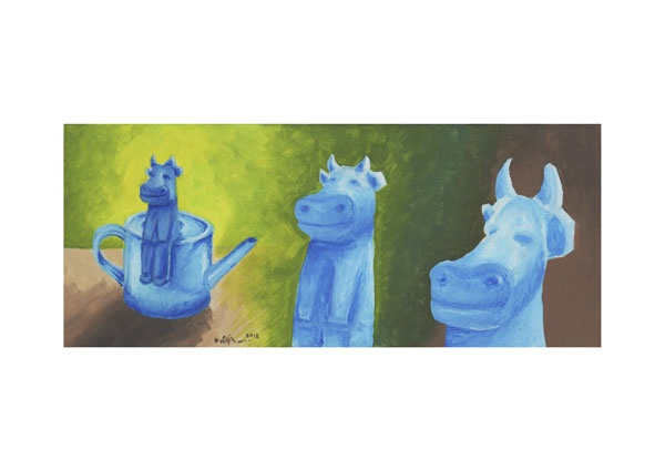 Blue Cow on a Watering Can (2012) by Neil Maclennan