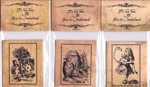 Vintage inspired Alice in Wonderland 6 tea bag envelope grunge party favor  #handmade #TeaParty