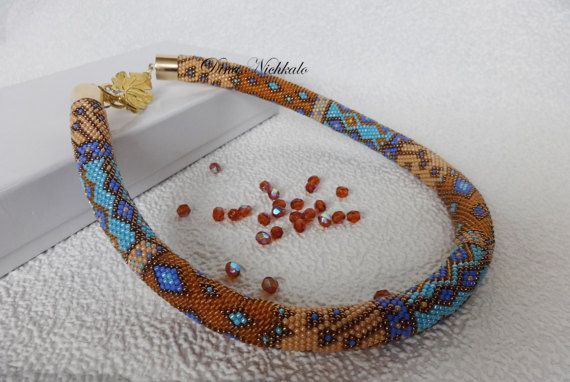 Bead crochet necklace Colorful necklace with geometric pattern Geometric necklace Multi color necklace Modern art necklace Summer Necklace