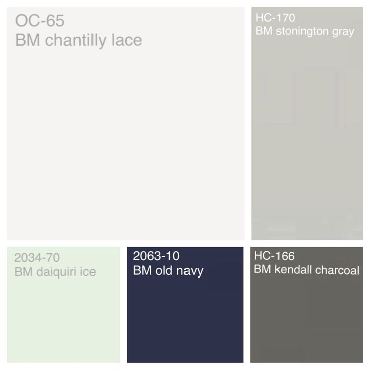Benjamin Moore color scheme: Trim/Ceiling- chantilly lace Walls- Stonington gray Bathrooms/Utility - daiquiri ice Cabinets - old navy Accent- - kendall charcoal for mom