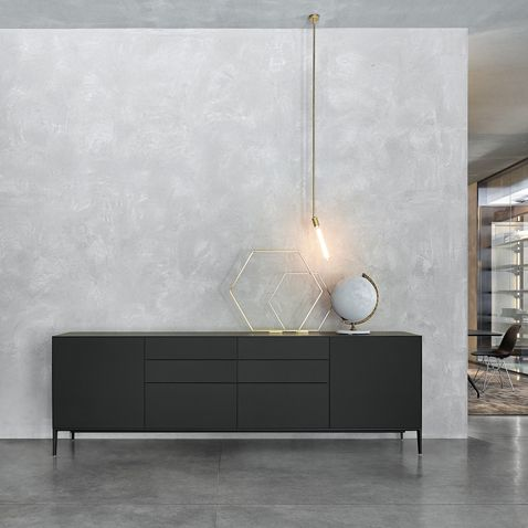 """""""Self Up"""" Sideboard by Rimadesio.   Composition in nero matt lacquered glass and feet finishing."""