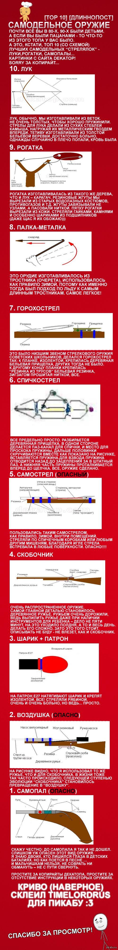 Топ 10 - самодельное оружие советских детей (+ схемы) (длиннопост!) Все мы были детьми и у многих в детстве были всякие самодельные оружия - луки, рогатки, стрелы. В этом длиннопосте есть схемы по их созданию! И инструкции...