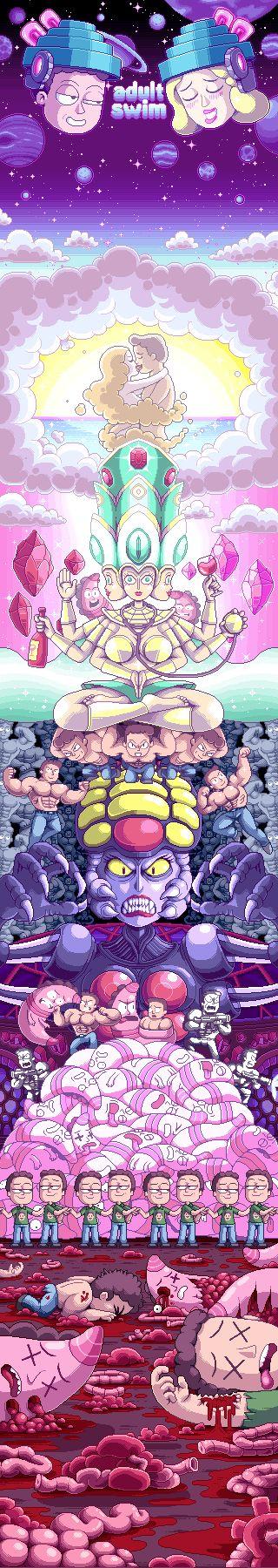 Rick and Morty animation for Adult Swim #pixelart #animation