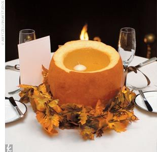 pumpkin: Ideas, Fall Leaves, Floating Candles, Candles Holders, Candles Centerpieces, Pumpkin Candles, Pumpkins, White Pumpkin, Wedding Centerpieces