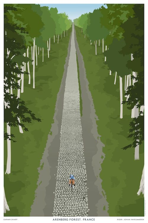 Beautifully designed print by Steve Thomas celebrates the Arenberg Forest, which in part made Paris Roubaix famous.