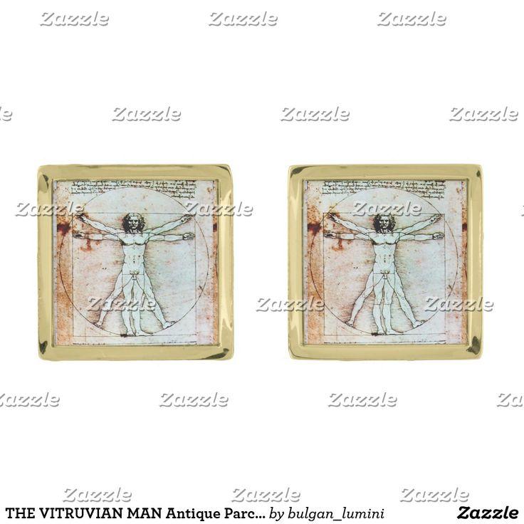 THE VITRUVIAN MAN Antique Parchment Gold Cufflinks #fashion #architect #leonardodavinci #medical #scientist #body