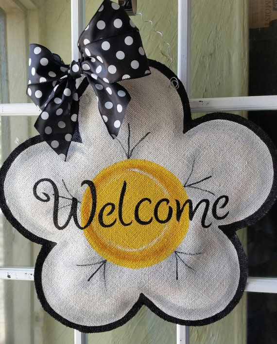 Flower burlap door hanger, large white and yellow flower welcome sign, wreath, great Mother's day gift! Whimsical wreath for spring