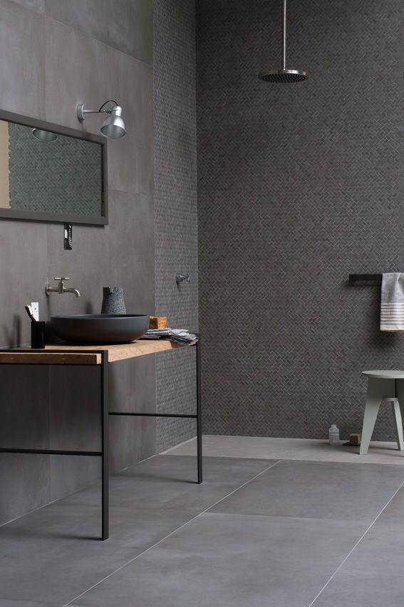 Powder, new concrete-look stoneware with an urban vibe.   Marazzi Your Space