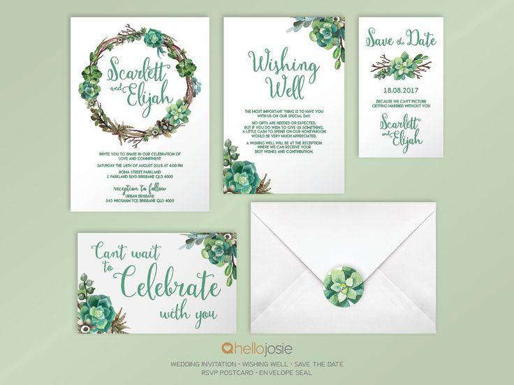 Succulent Woodland Boho Printable DIY Wedding Invitation Stationery Set by HelloJosie on Etsy https://www.etsy.com/listing/243227877/succulent-woodland-boho-printable-diy
