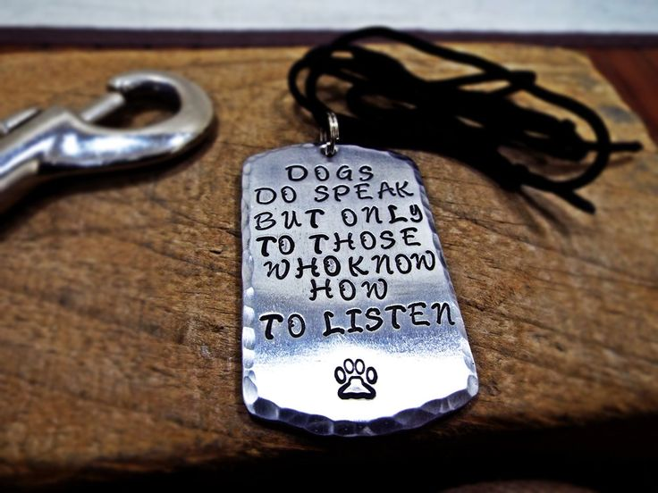 Dogs Do Speak But Only To Those Who Know How To Listen Necklace Aluminum Personalized Hammered edge with dog paw Special Gift for dog lovers by Aluminiopassions on Etsy