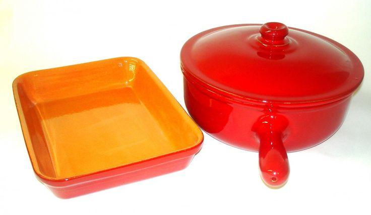 Terra Allegra - Piral Italian Terracotta 3.5 Quart Red Saucepan-Baker Set, $119.95 (http://terraallegra.com/piral-italian-terracotta-3-5-quart-red-saucepan-baker-set/)