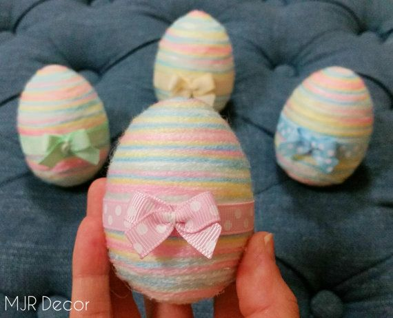 Pastel Rainbow Yarn Easter Eggs with little bow by MJRDecor
