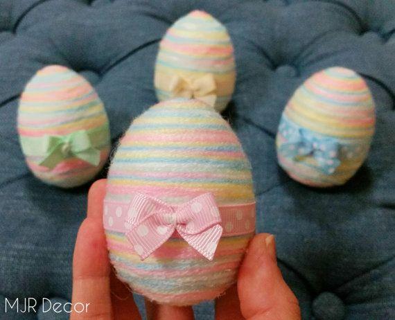 Pastel Rainbow Yarn Easter Eggs with little bow by MJRDecor