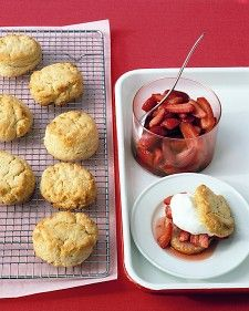 To prevent the baked biscuits from crumbling when you cut them, wait until they are cool, and use a serrated bread knife to slice them in half very gently.: Desserts Recipe, Baking Powder, Marthastewart, Biscuits Recipe, Summer Desserts, Shortcake Recipe, Martha Stewart, Powder Biscuits, Strawberries Shortcake