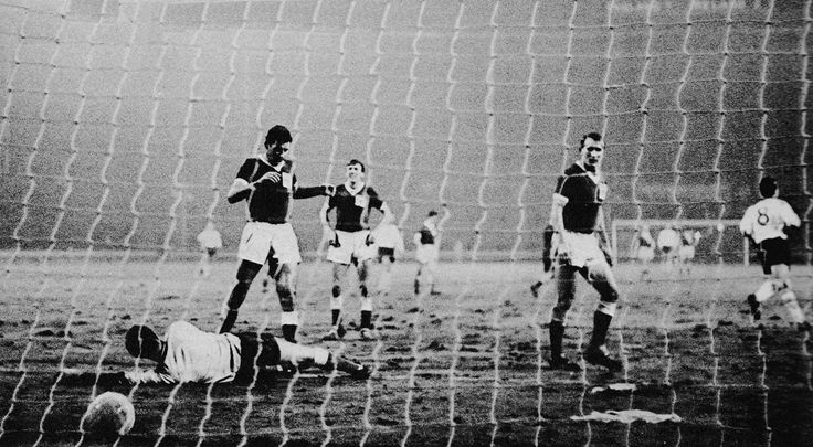 20th November 1963. England's Jimmy Greaves wheels after scoring against Northern Ireland, in a 8-3 victory, at Wembley.
