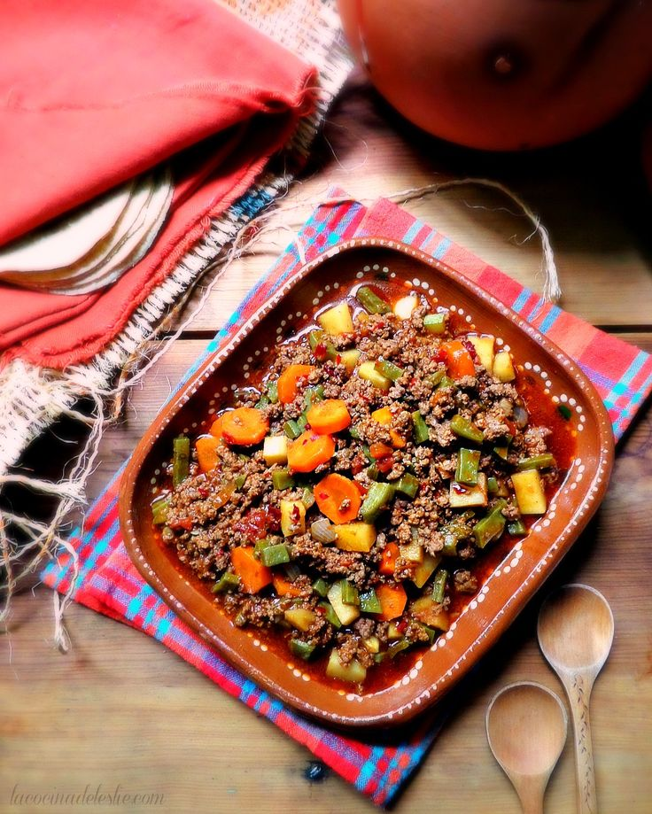 Ground Beef Picadillo ~ Traditional Mexican Picadillo made with ground beef and vegetables in a ancho and guajillo chile broth.