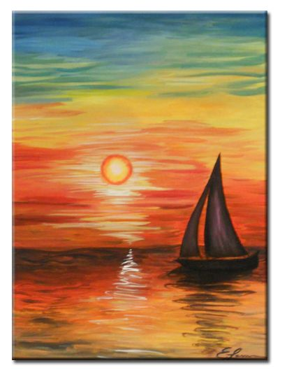 E.Lauren Fine Art – Sunset Drift Original Landscape Acrylic Painting!