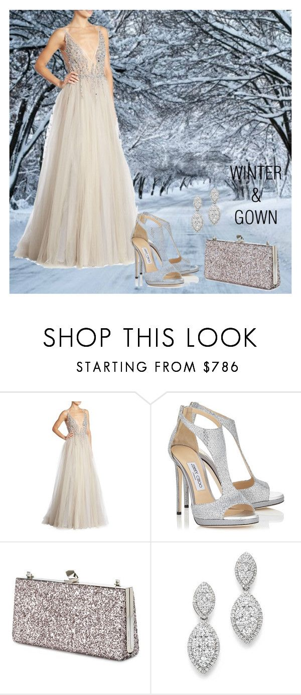 """winter and gown"" by natalie-ava-white ❤ liked on Polyvore featuring Berta, Jimmy Choo and Bloomingdale's"