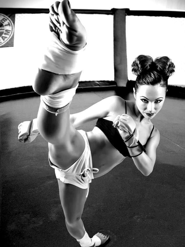 high naked Karate girls kick