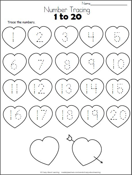 Free Heart Math worksheet. Trace the numbers from 1 to 20 on the hearts. This worksheet is a perfect valentine number practice printable for preschool and kindergarten students who are still learning their numbers.