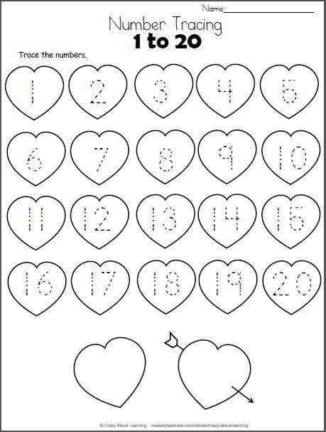 valentine hearts math worksheet trace numbers to 20 bsi pinterest math math worksheets. Black Bedroom Furniture Sets. Home Design Ideas