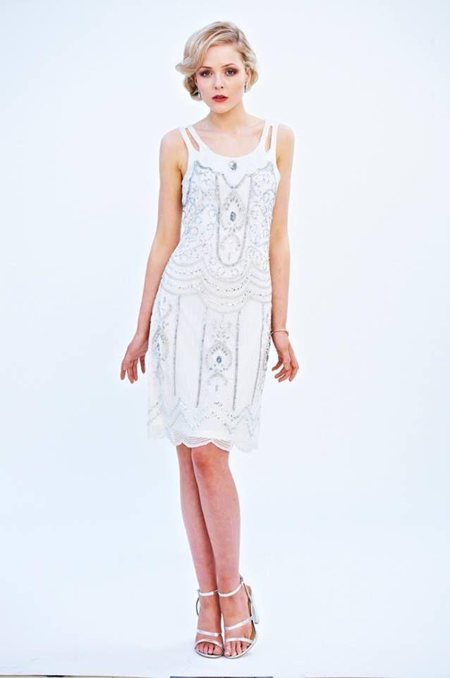WHITE SEQUIN CHARLESTON FLAPPER uk 8 12 GATSBY dress 20's ART DECO