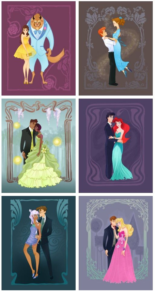 Disney princess prom!! I'm so glad someone finally included Kida. :) After all, she's more of a princess than Mulan ever was, technically speaking. Although I do wonder about Wendy being in this, too...